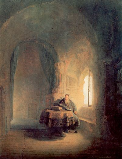 Painting of a man studying at a table with golden sunlight coming in through the window