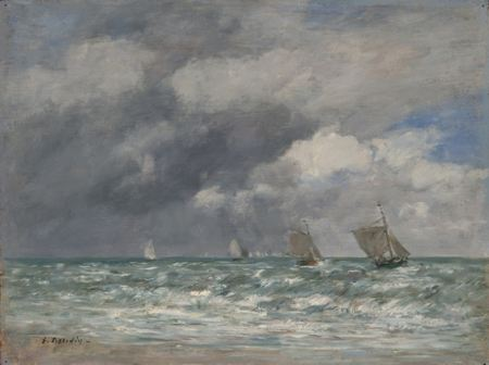 Painting of sail boats on the ocea