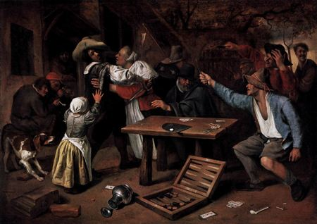 Painting of men fighting over a game of backgammon