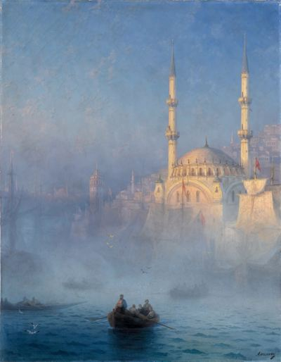 Men in  a boat looking at the Hagia Sophia