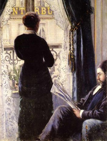 Painting of a woman looking out of the window while a man sits in a chair next to her reading a newsaper