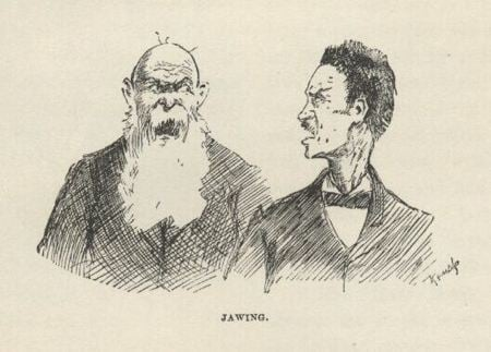 Drawing of two men arguing