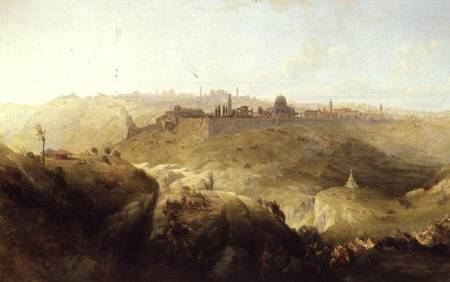 Painting of a landscape with Jerusalem off in the distance