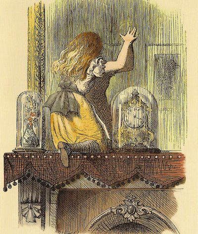 Alice from Alice Through the Looking Glass on the mantle touching the mirror above the mantle
