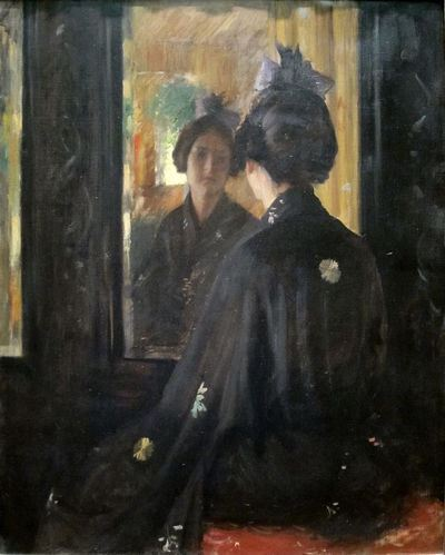 Painting of the image a woman sees when she looks at herself in the mirror