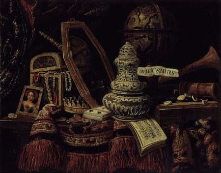 Still life painting of variou objects on a table that are objects that promote vanity or about which we are vain about having