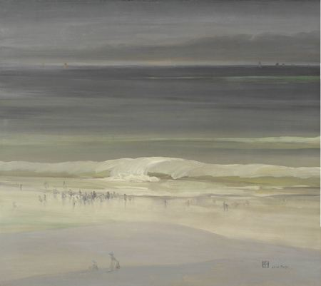 Painting of a tranquil sandy beach