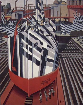 "Painting of war ships painted with ""dazzle paaint"""