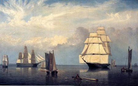 Painting of schooner ships docked in Salem Harbor