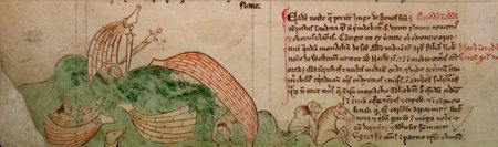 Illustation of a shipwreck from an illuminated manuscript