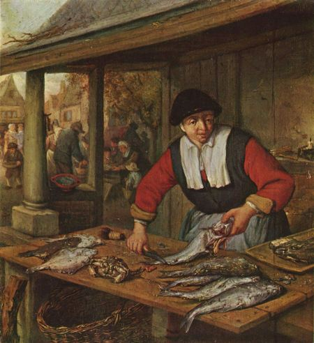 Painitng of a fishmonger arranging the fish for sale