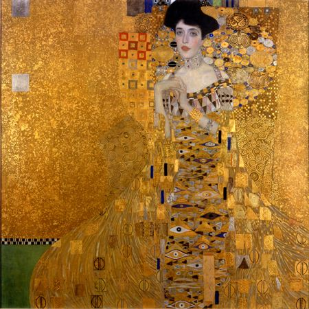Painting of a woman dressed in a gold dress