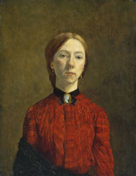 Self portrait of painter in a red dress with black collar and cameo pin