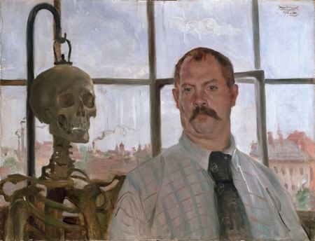 Self portrait of painter next to skeleton