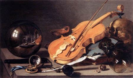 Painting of violin, glass, crystal ball and other items